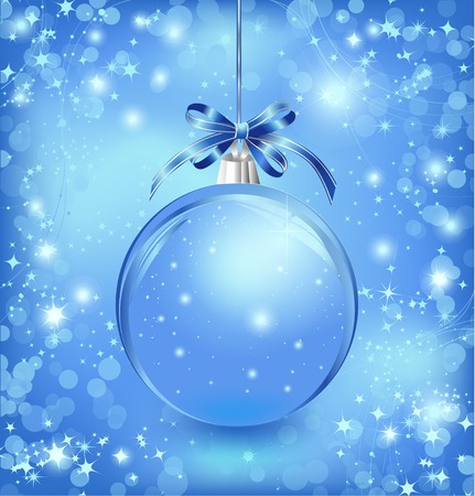 Xmas glass blue ball with snow inside and bow. Vector