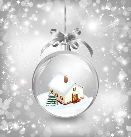 Glass ball Christmas with a little house, snow, fir tree and silver bow. Vector Vector