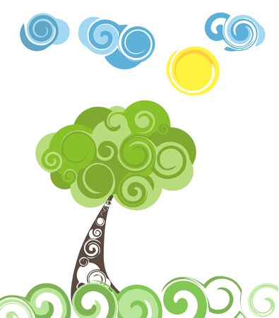 blue clouds: Abstract Green Tree and Blue clouds. Vector Illustration