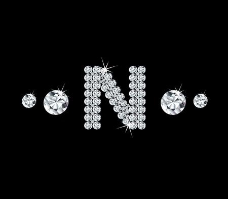 modish: Diamond vector alphabetic letter N Illustration
