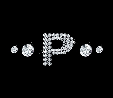 modish: Diamond vector alphabetic letter P