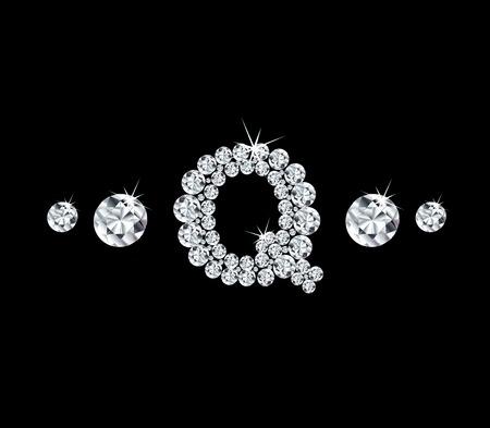 modish: Diamond vector alphabetic letter Q
