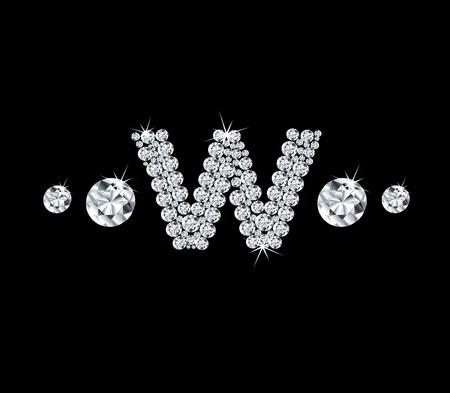 modish: Diamond vector alphabetic letter W