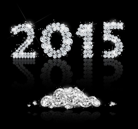 Brilliant text for the new year 2015 with diamonds. Vector background Vector
