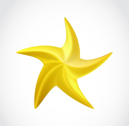 gold star: Gold swirl star isolated.  Illustration