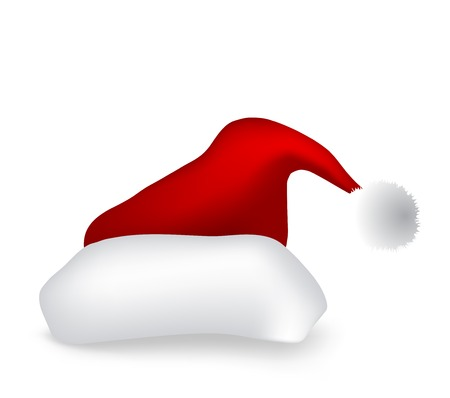 Vector santa hat isolated on white background