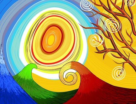 Hand-drawn seasonal background with tree and sun Vector