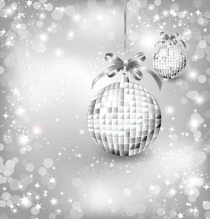 Silver of empty snowglobes. Vector Chrisymas background