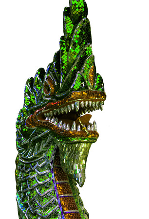 festival scales: Colorful dragon statue isolated