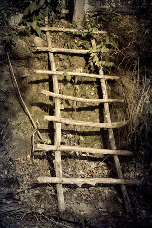 old wooden steps near the ground photo