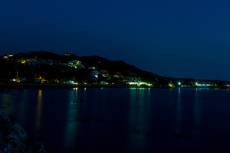 Night landscape of rocks on Samui island, Thailand photo