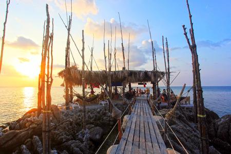 phangan: Wooden bridge to the island on Koh Phangan Stock Photo
