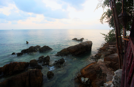 gentle dream vacation: Rocks, sea, sunset on the Tropical beach in Koh Phangan