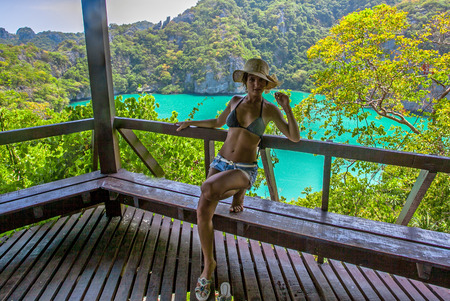 angthong: View from mountain on  Angthong Marine National Park and posing woman