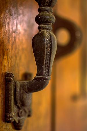 doorhandle: Part of Old doorhandle. Macro