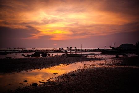 Beautiful golden sunset on the sea photo