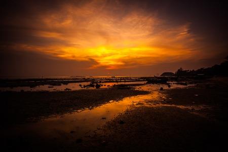 Beautiful golden sunset in the sea photo