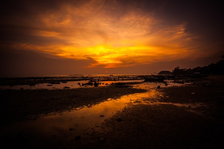 reverberation: Beautiful golden sunset in the sea