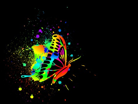 Rainbow ink butterfly on black background