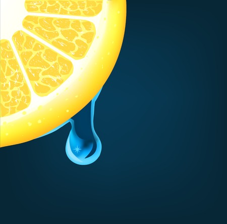 ble: Flowing down drop on an lemon segment Illustration