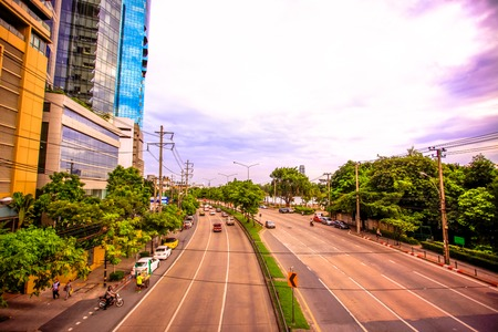 car lots: BANGKOK, THAILAND, 4 AUGUST 2014, Traffic on a road in the city centre Editorial