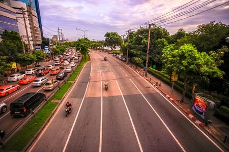 gridlock: BANGKOK, THAILAND, 4 AUGUST 2014, Traffic on a road in the city centre Editorial