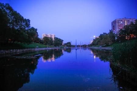 nite: night town scene river and moon