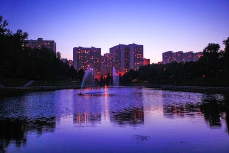 reflectivity: night town scene river, trees and sky Stock Photo
