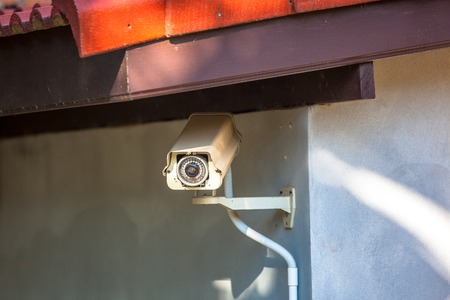 safekeeping: Observation camera on a column in the park