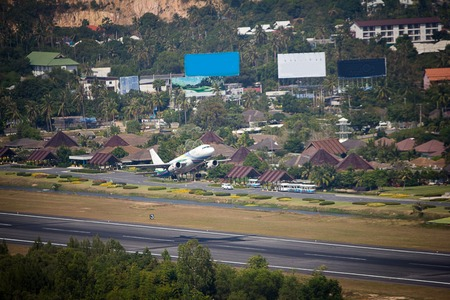 landing strip: landing strip of the airport with airplane