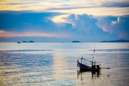 marmara: Fishing boat in sea on Koh Samui at amazing sunset. Thailand Stock Photo