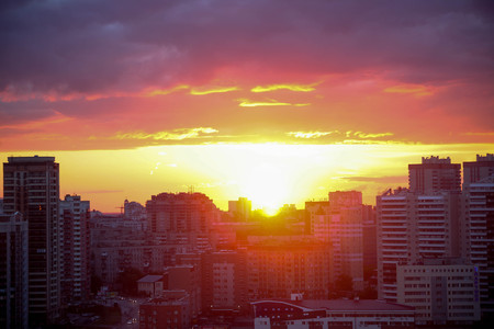 novosibirsk: Beautiful Cityscape Sunset at Novosibirsk. Russia