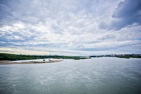 novosibirsk: The dark clouds on the coastline. Novosibirsk. Russia Stock Photo