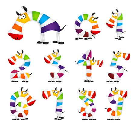 cartoon rainbow: Colecci�n de los N�meros. Hecho de colorido arco iris de la cebra de la historieta animal. ilustraci�n vectorial