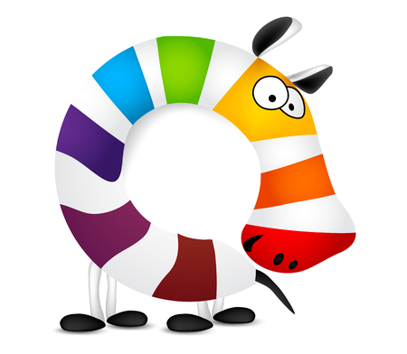 pets background: Number zero. Made of colorful animal cartoon rainbow zebra. Vector illustration