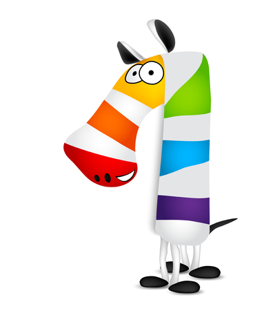 arcoiris caricatura: Number one. Made of colorful animal cartoon rainbow zebra. Vector illustration