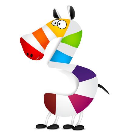 colourfull: Number three. Made of colorful animal cartoon rainbow zebra. Vector illustration