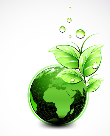 Natural World with leaves and water drops Illustration
