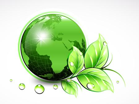 Natuurlijke Wereld met bladeren en waterdruppels