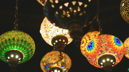 Ramadan candle lanterns featuring such intricate patterns Stock Photo