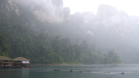 It is rainy in Khao Sok National Park. The park is the largest area of virgin forest in southern Thailand