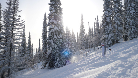 Young woman Snowboarding on mountains at sun