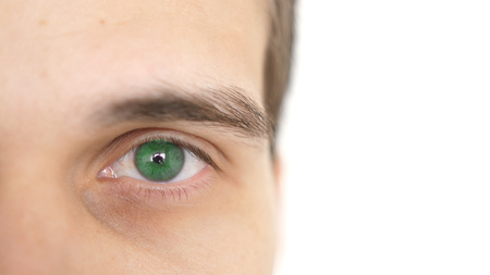 Close up of a male eye. Detail of a green eye of a man looking at camera Stok Fotoğraf