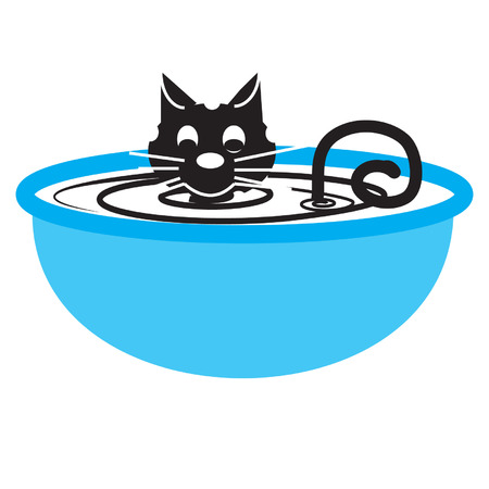 describe: to describe cat taking a bathbowl. the bowl colour is blue. and then, cat colour is black