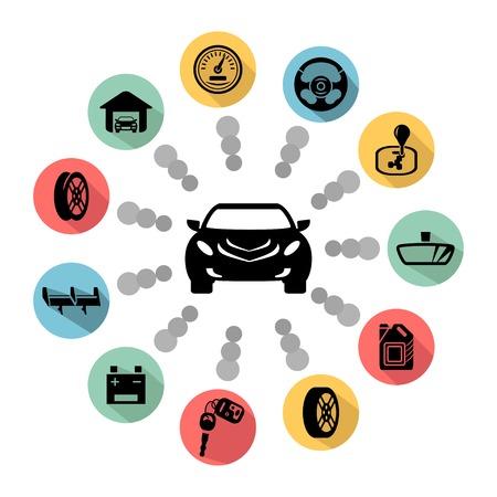 interceptor: Car parts vector icons Illustration
