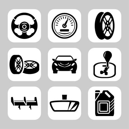 interceptor: Car parts vector icon set Illustration