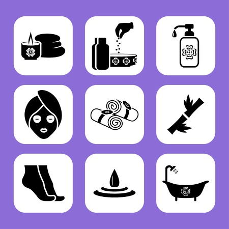 massage therapist: Spa related vector icon set Illustration