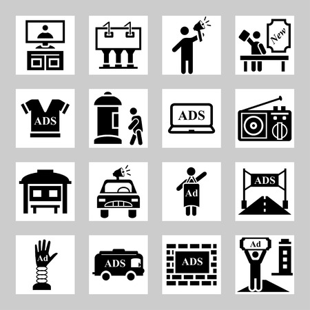 Advertisement, marketing icons set Vector