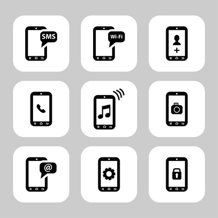 setup man: Mobile phone functions vector icons set