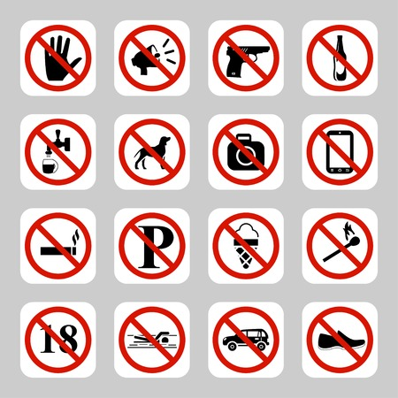 no swimming: Prohibition signs, no symbols vector icon set Illustration